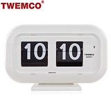 【TWEMCO】復古收藏翻頁鐘 桌立壁掛兩用 (QT-35 白色)