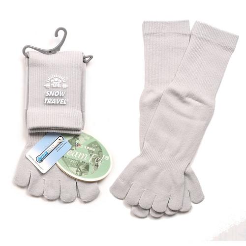 SNOWTRAVEL COOLMAX排汗快乾抗菌五指襪(淺灰)X3