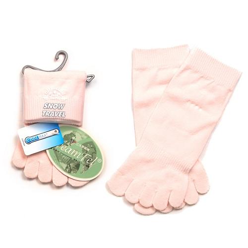 SNOWTRAVEL COOLMAX排汗快乾抗菌五指襪(粉紅)X3