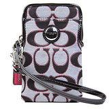 COACH 圓釦LOGO雙色織布IPhone袋(黑紅)
