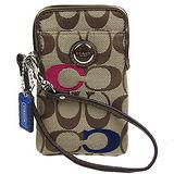 COACH 繡線彩C織布IPhone袋(卡其)