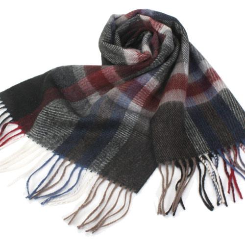 S.T.Dupont 羊駝毛混紗時尚大格紋圍巾-時尚黑