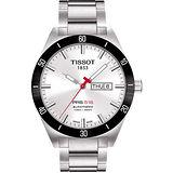 TISSOT PRS516 經典機械鋼帶腕錶-銀 T0444302103100