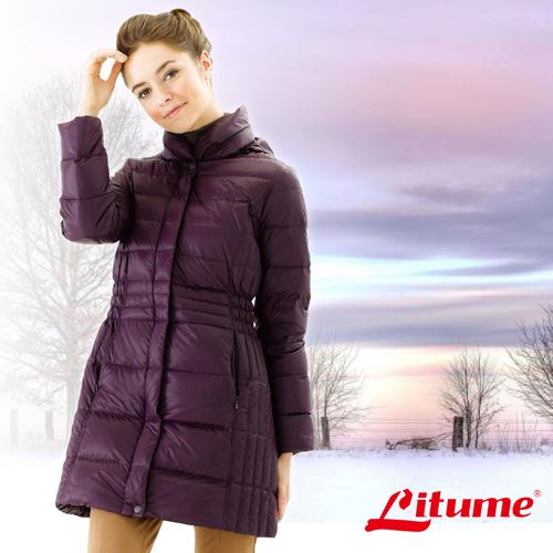【意都美 Litume】女款 保暖羽絨中長外套/羽絨衣.保暖外套_ F3158 深紫