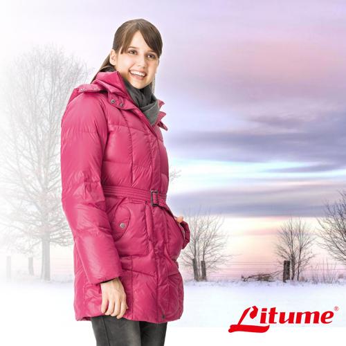 【意都美 Litume】女款 保暖羽絨中長外套/羽絨衣.保暖外套_ F3152 紫紅