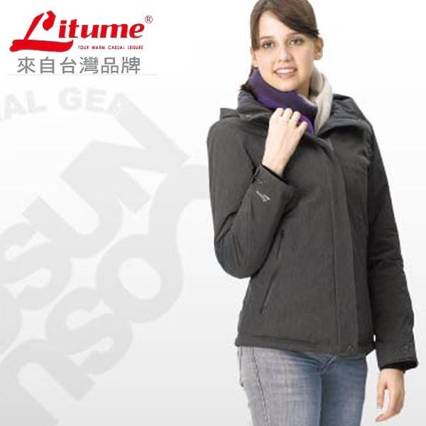 【意都美 Litume】 女款  Primaloft 單件式超輕防水透氣防風保溫棉外套(帽可拆)_ H7019 深灰