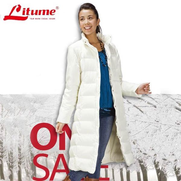 【意都美 Litume】女款 保暖羽絨長大衣、羽絨外套 /  F3110 米白