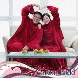 棉花田【樂邁】超細纖維創意雙人袖毯-紅色(280x180cm)