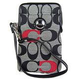 COACH 繡線紅C織布IPhone袋(黑灰)