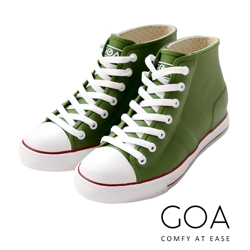 GOA街頭時尚.女款內增高帆布款橡膠雨鞋-綠