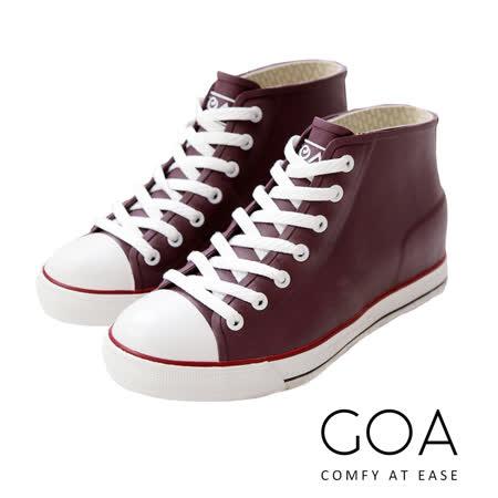 GOA 內增高帆布款橡膠雨鞋