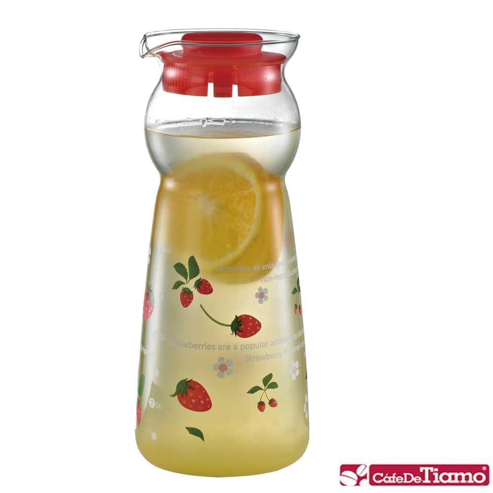 Tiamo 可愛水果風格玻璃水壺-0.95L-草莓 (HG2289R)
