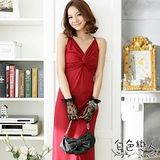 【白色戀人中大尺碼】朱紅色艷麗胸前不規則設計款長禮服