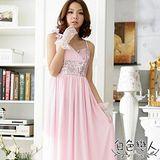 【白色戀人中大尺碼】粉色亮眼單邊蝴蝶結造型高腰長禮服