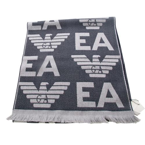 EMPORIO ARMANI 羊毛大字母LOGO雙面雙色圍巾-灰