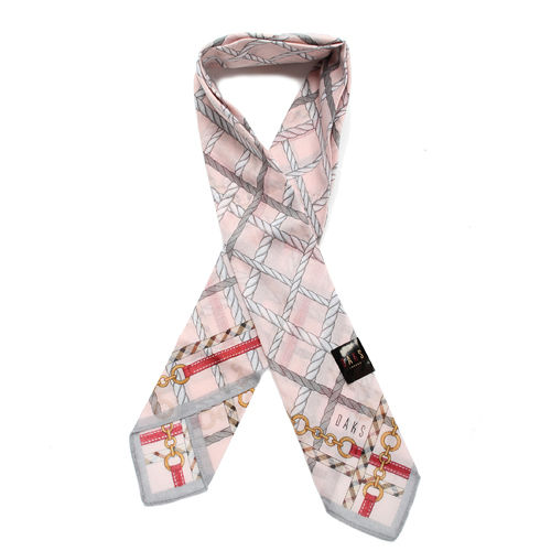 DAKS 抗UV鍊繩格紋夏季涼感薄圍巾-粉紅灰邊