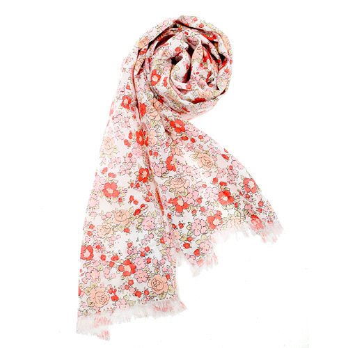 renoma paris 日系和風小花抗UV薄圍巾-橘紅