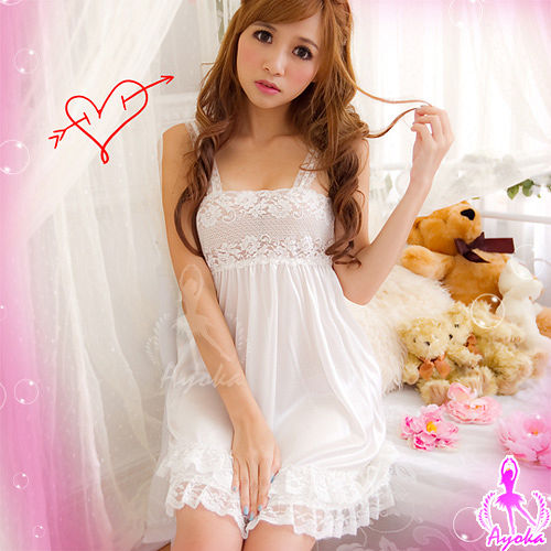【Ayoka】專屬魅力!柔緞蕾絲睡襯衣