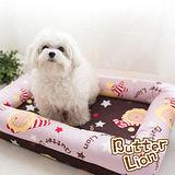 【奶油獅】台灣製造-保暖阻地氣-布套可拆洗-搖滾星星寵物記憶床墊-中(10kg以下適用)-淡紫咖啡