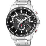 CITIZEN Eco-Drive【鈦】單局電波鬧鈴腕錶-黑/銀 AS8024-50E