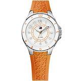 TOMMY HILFIGER 洋溢色彩時尚腕錶-銀/橘 M1781274