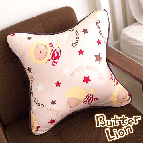 【奶油獅】正版授權 台灣製造-搖滾星星可拆洗方型抱枕-米色(一入)
