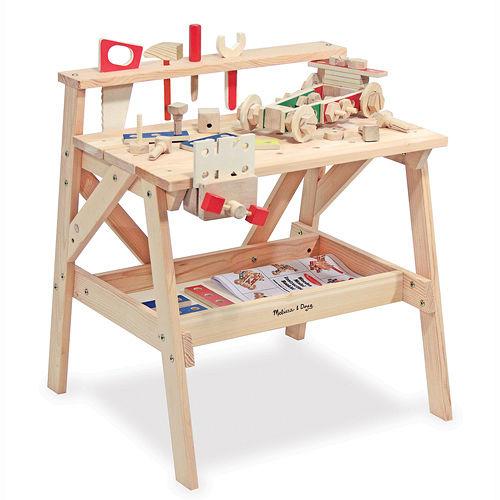 美國瑪莉莎 Melissa & Doug 木製大型工具台 + 益智工具組