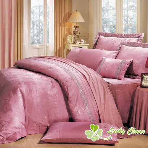 【幸運草-親密愛人】雙人緹花精品八件式床罩組