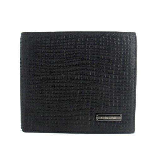 【SINA COVA】老船長粗麻紋牛皮短皮夾(SC 3295-1)-黑色