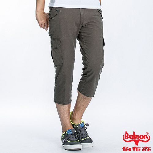 BOBSON 男款貼袋休閒七分褲(兵綠178-41)