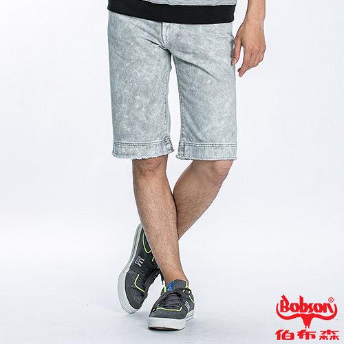 BOBSON 男款雪花牛仔短褲(灰綠188-41)