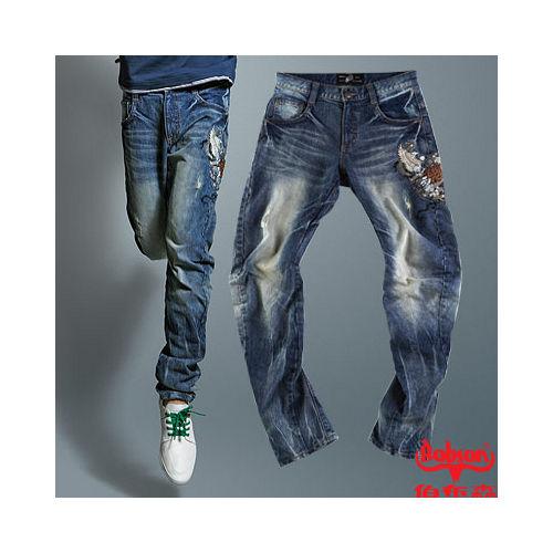 【BOBSON】 男款翻轉系列立體摺痕褲管翻轉牛仔褲 58藍