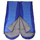 PUSH! 登山戶外用品 全開式可拼接帶帽帶防風領圍四季睡袋 (一入)