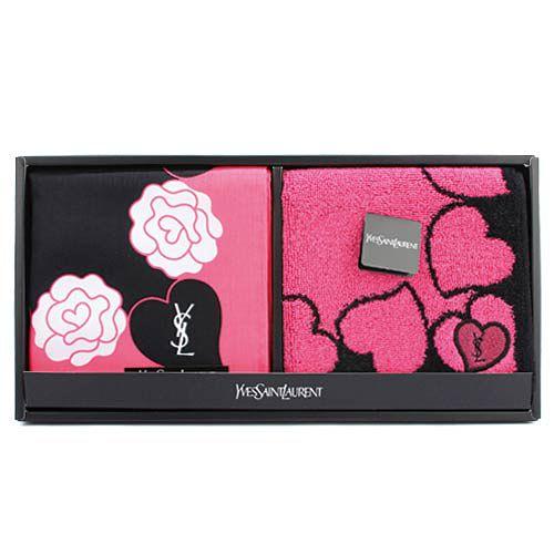 YSL 愛心玫瑰邊框二入帕方巾禮盒-桃紅/黑色