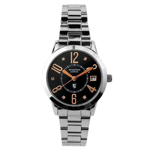 【Arseprince】時尚簡約晶鑽女錶-黑金