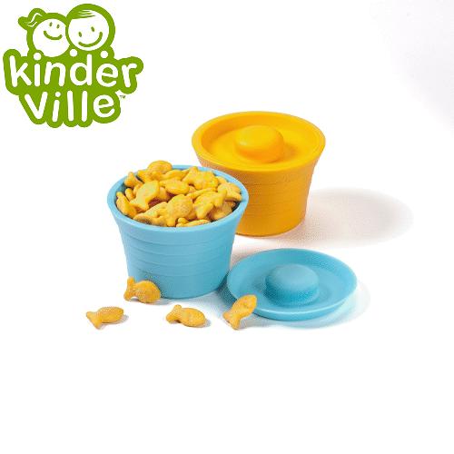 美國 Kinderville寶寶矽膠小容器 (一組2入, 藍色+橙色)