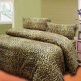 《豹紋品味金》單人三件式床包被套組台灣製造