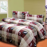 《羽情和風紅》雙人四件式床包被套組台灣製造