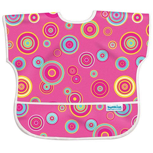 美國Bumkins防水兒童圍兜(短袖)-粉紅普普風 BKU420