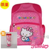 【Hello Kitty凱蒂貓】書包+隨手杯-點點高級雙層反光款(粉色)