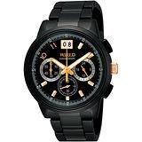 WIRED 國王與你大視窗三眼計時限量腕錶-IP黑 VK73-X004SD