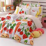 義大利Fancy Belle《蔬果樂園》加大四件式舖棉兩用被床包組