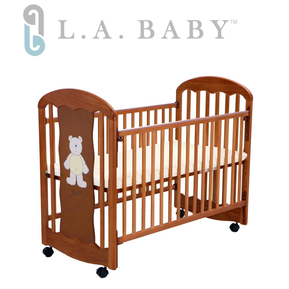 L.A. Baby 美國加州貝比 卡羅萊納嬰兒搖擺中床/木床/原木床/嬰兒床(咖啡色)