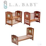 L.A. Baby 美國加州貝比 布魯克林三階段嬰兒成長大床/木床/原木床/嬰兒床(新生兒-10歲幼童皆適用)
