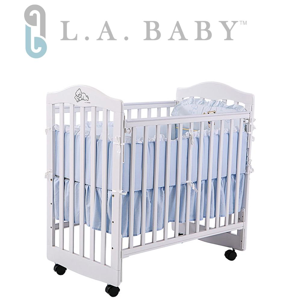 L.A. Baby 美國加州貝比 蒙特維爾美夢熊嬰兒小床/木床/原木床-超值優惠組合(白色嬰兒床+純棉五件式寢具組)