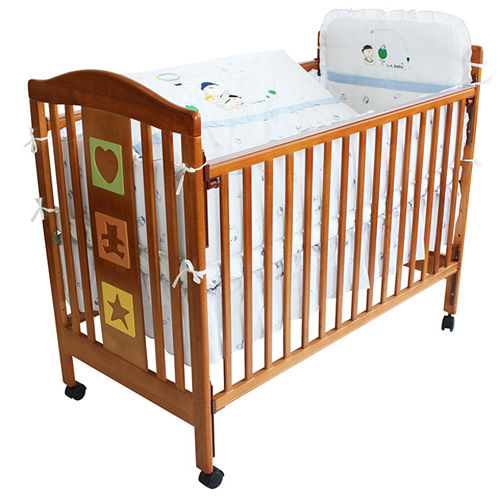 L.A. Baby 美國加州貝比 維吉尼亞嬰兒中床/木床/原木床/嬰兒床-超值優惠組合(嬰兒床+100%純棉七件式嬰兒寢具組)