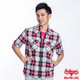 BOBSON 男款格紋拉鍊短袖外套(紅23002-13)
