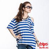 BOBSON 女款裸肩條紋短袖上衣(藍23090-54)