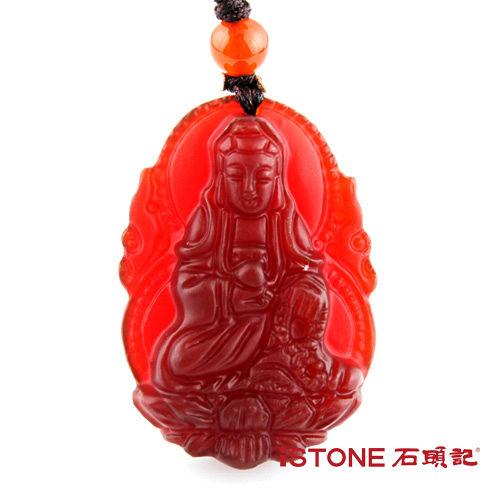 石頭記 護身佛系列-蓮座如意觀音 紅玉髓項鍊