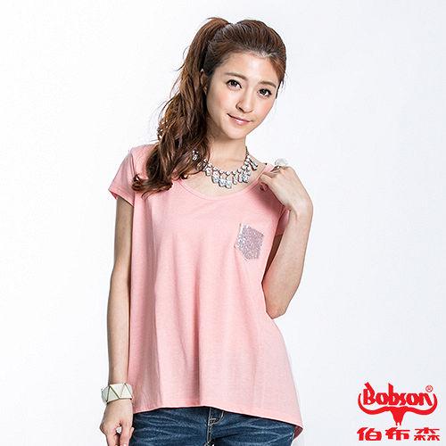 BOBSON 女款雪紡傘狀短袖上衣(粉橘23102-21) M
